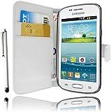 Etui Housse Luxe Blanc Portefeuille pour Samsung Galaxy Trend lite S7390 + STYLET et 3 FILM OFFERT !