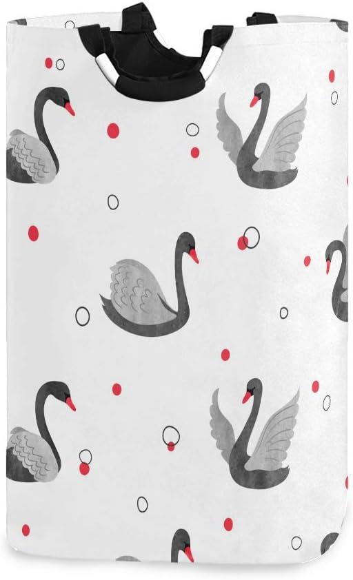 Lerous - Cesta para la colada (tamaño grande), diseño de cisnes negros con asas, cesta de almacenamiento plegable para ropa sucia, juguetes para niños