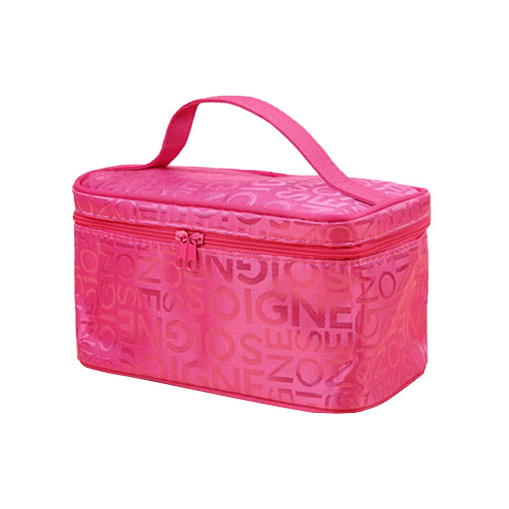 """Onegirl Portable Cosmetic Bag with Zipper,9.05""""x7.48""""x3.94,Fashion Square Travel Storage Wash Bag Organizer For Pen,Key,Cash,Make Up Supplies (D)"""