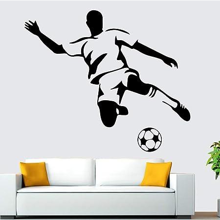 Ajcwhml Fútbol Boy Wall Art Aplique Etiqueta de la Pared Mural Art ...