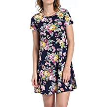 Luodemiss Women's Classic Retro Floral Print Casual A-Line Short Sleeve Swing Tunic Dress