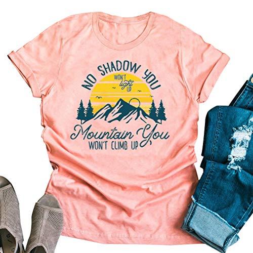 Enfei Women Mountain Funny Hiking Nature Letter Printed Short Sleeve T-Shirt Christian Shirt Pink]()