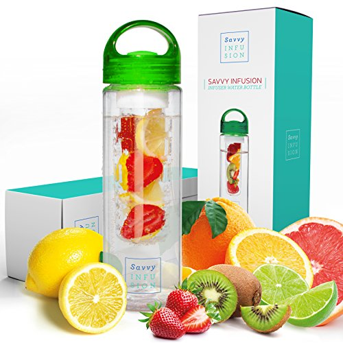 Savvy Infusion Water Bottles - 24 or 32 Ounce Fruit Infuser Bottle - Featuring Unique Leak Proof Silicone Sealed Cap with Handle - Great Gifts for Women