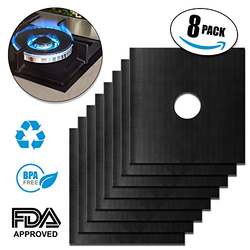 Gas Range Protectors: 8 Pack Resizable, Reusable Stove or Stovetop Burner Cover Liners, Black 10.6 Inch Square, plus Free 3 Pot Coasters