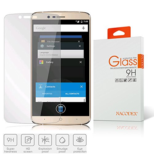 Nacodex Premium Real Tempered Glass Film For Elephone P8000 , HD Ballistic Glass Screen Protector - Protect Your Screen From Scratches