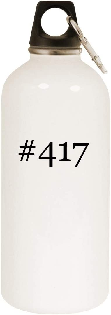 #417-20Oz Hashtag Stainless Steel White Wasser Bottle mit Carabiner, White