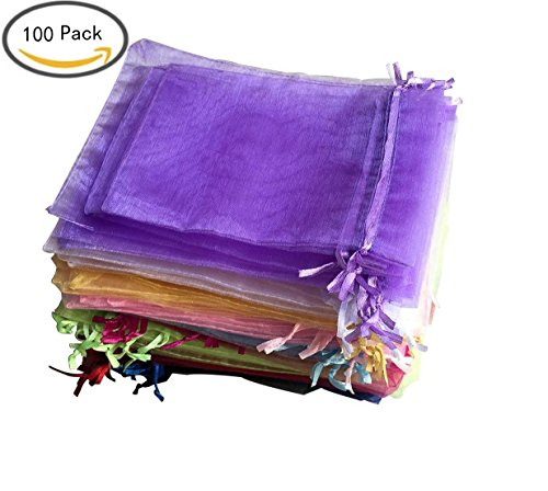 Organza Drawstring Pouches Gift Bag Jewelry bags, 5x7 inch and 4x6 Inch Velvet Candy Pouch Chocolate for Mother Day Gift Party Wedding Favor Draw String (100, 10 Assorted Color)