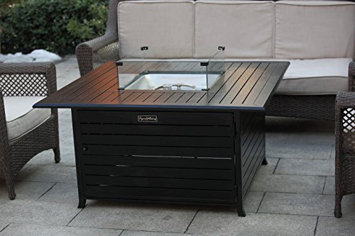 Cheap LEGACY HEATING Extruded Aluminum Fire Table with Glass Wind Guard with Cover and Table Lid, Bronze, Square