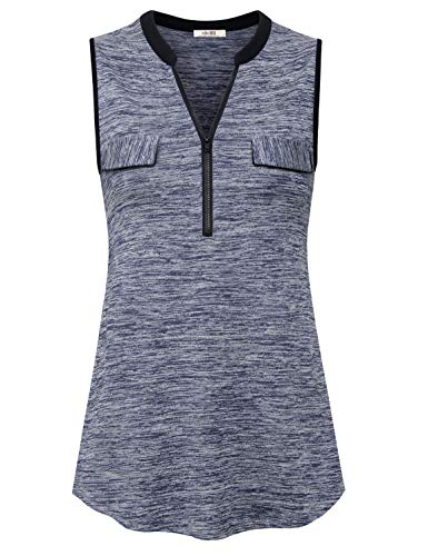 (Vivilli Womens Shirts and Blouses,Sleeveless Zip Up Tunic Flowing Collarless Figure Flattering Tank Tops Misses Spring Night Out Clothing with Decorative Pockets Grey Medium )