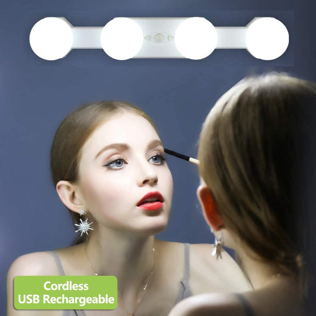 4 Bombillas Regulables Temperatura de Color Sin Espejo Kit de Luces de Espejo de Make Up Sin Cuerda Port/átil Recargable Luces para Espejo de Maquillaje LED Tocador para Tocador Ba/ño