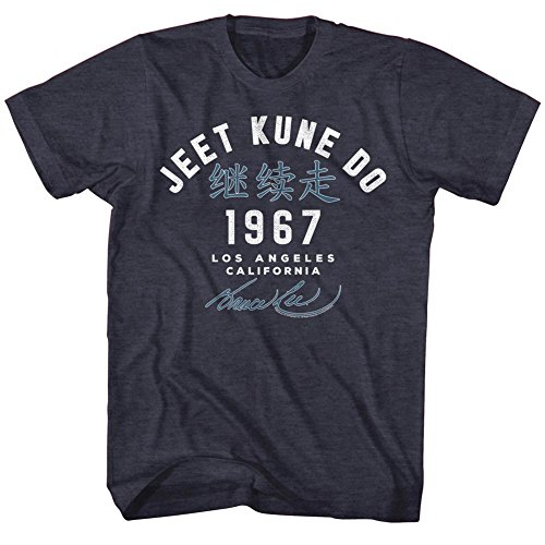 Bruce Lee Jeet Kune Do Academy T-shirt, Heather Blue, Medium