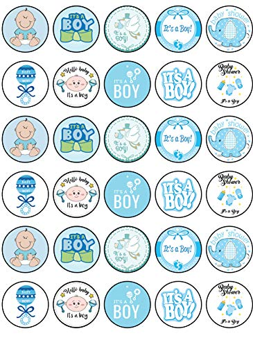 30 x Edible Cupcake Toppers - Baby Shower Boy Themed Collection of Edible Cake Decorations   Uncut Edible Prints on Wafer Sheet...