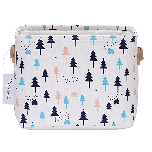 (Hinwo 12L Small Size Nursery Storage Bin Basket Collapsible Square Canvas Fabric Storage Box Container Organizer with PU Leather Handles for Shelves & Desks, 10.6 x 9.1 x 7.9 inches (Pine Tree))