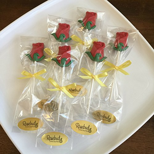 12 ROSE Milk Chocolate Lollipops Candy Party Favors (One Dozen)]()