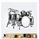 xjpgkd Drum icon Vinyl Wall Sticker Room Art Sticker Rock Music Applique Home Decoration Wall Decal 53X42CM