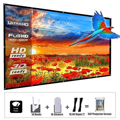 YF2009 Updated 150 Inch Portable Projector Screen, 16:9 HD Foldable Anti Crease Indoor Outdoor Movie Projection Screen for Camping/Home Theater/Office/Party – with Hooks and Ropes, Easy to Install