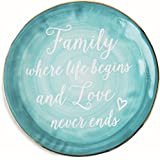 """Pavilion Gift Company Emmaline """"Family Where Life Begins and Love Never Ends"""" Ceramic Decorative Plate, 7"""", Teal"""