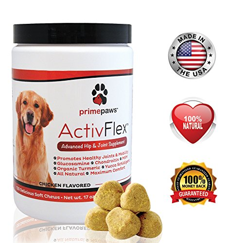 ActivFlex, Best Glucosamine for Dogs, Safe Arthritis Pain Relief, All Natural Hip & Joint Supplement for Dogs, Improves Hip Dysplasia, Chondroitin, Turmeric, MSM for Dogs, 120 Soft Chews, Made in USA