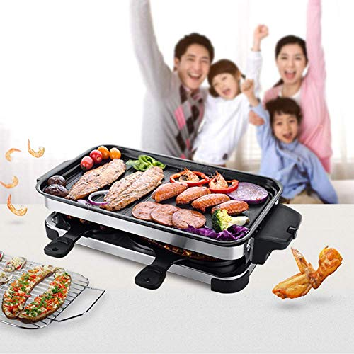 Indoor Electric Grill Raclette Removable Bakeware Two Layers Infrared Smokeless Multifunction Grilling Oven(4 Pans)