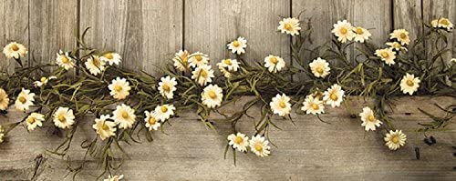 Rustic Country Primitive Tea Stained Daisy Garland Farmhouse Floral Decor