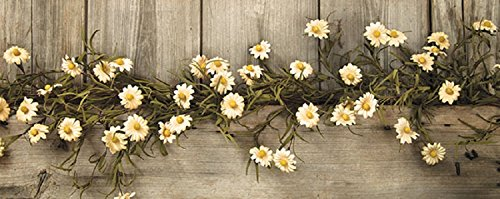 Rustic Country Primitive Tea Stained Daisy Garland Farmhouse Floral Decor -