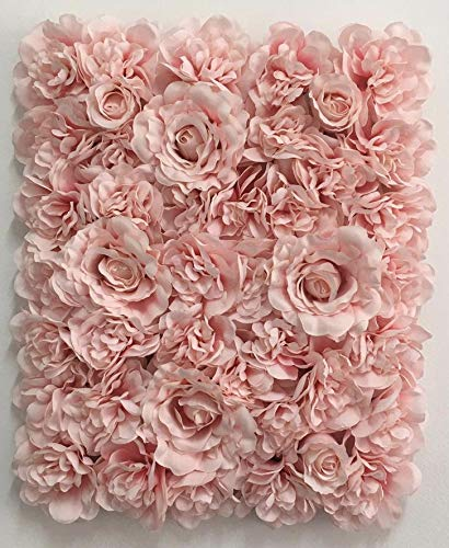 Blush Wedding Decor (Blush Blooms Decorative Premium Artificial Flower Panel - Flower Wall & Backdrop, Wedding, Bridal Shower, Baby Shower, and Event Decor (Gradient)