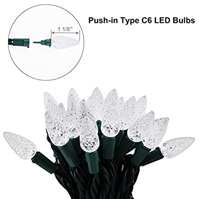 Dewenwils 100 LED String Lights C6 Christmas Lights Soft White for Bedroom Patio Garden Party and Wedding, 34.3ft Green Wire, UL Listed