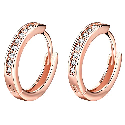(Rose Gold Plated Tone CZ Small Hoop Huggie Earrings For Women Teen Girls jewelry, 0.67'')