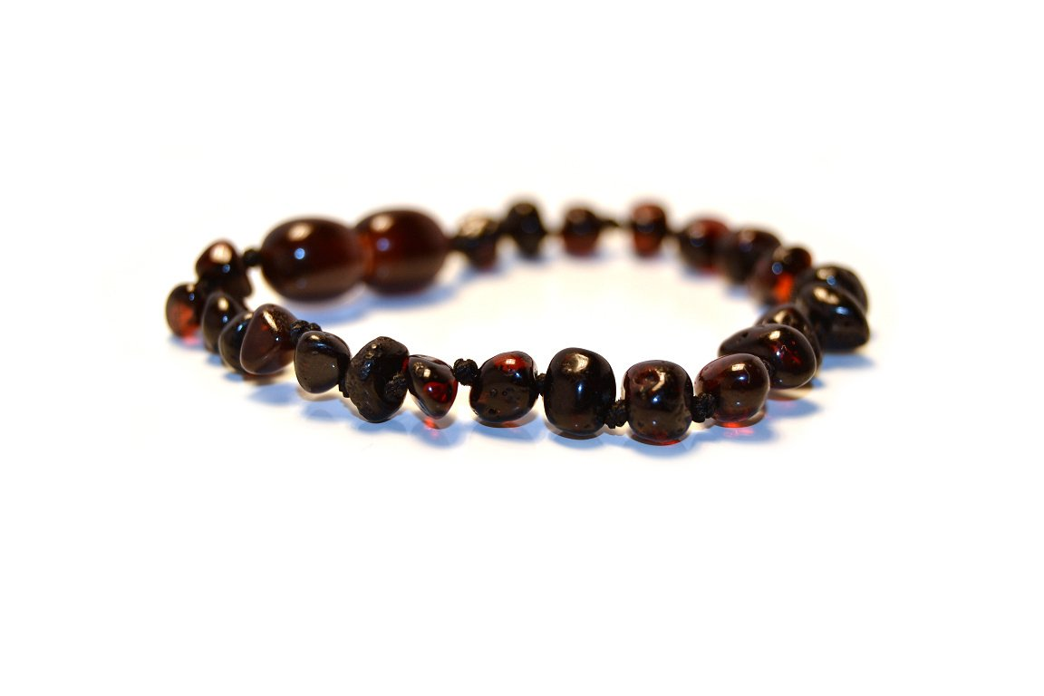 Hand-Made from Certified Natural Baltic Amber Beads 4.7 inch Baltic Amber Teething Bracelet//Anklet Mixed with Semi Precious Stones , Lemon 12cm