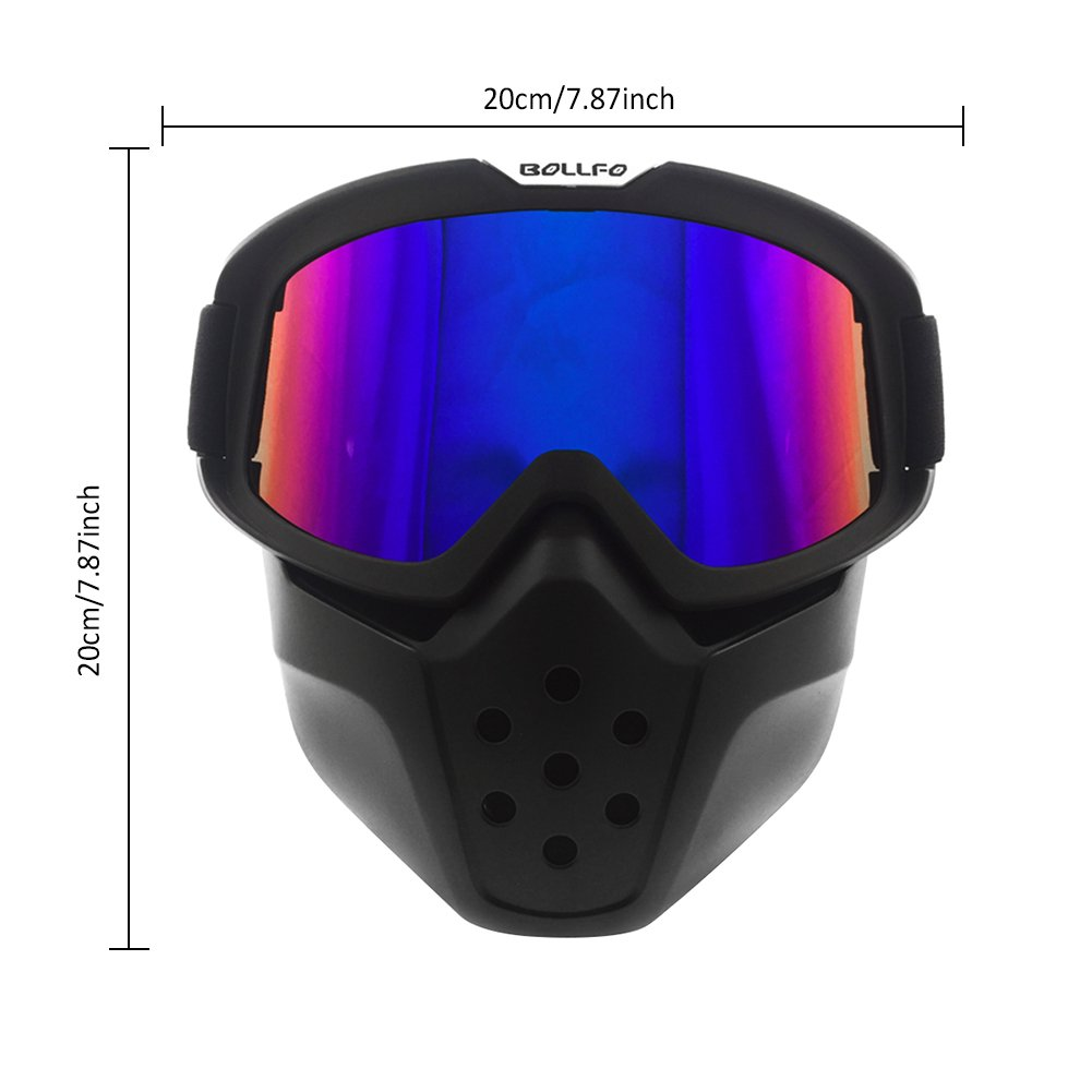 Motorcycle Goggles Mask,Sundlight Helmet Riding Goggles Glasses with Detachable Mask Adjustable Strap for Riding Snowmobile Skiing Outdoor Activities
