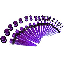 36 Pieces Taper Kit Glitter Purple Tapers with Glitter Purple Plugs The Sparkle Stretching Kit - 18 Pairs