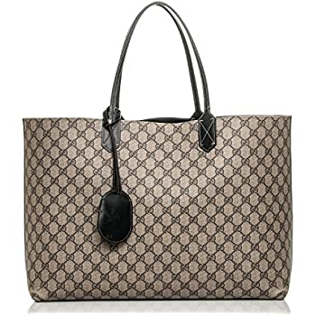 b0618765309897 Gucci Signature Tote Reversible Black Leather Bag Leather Italy Handbag New