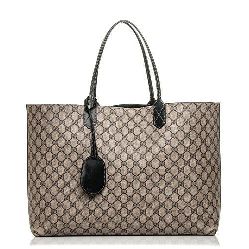 - Gucci Signature Tote Reversible Black Leather Bag Leather Italy Handbag New
