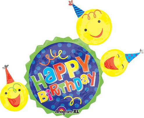 LuftBalloons 36 Inch Birthday Smiley Faces & Hats Balloon by 99 LuftBalloons