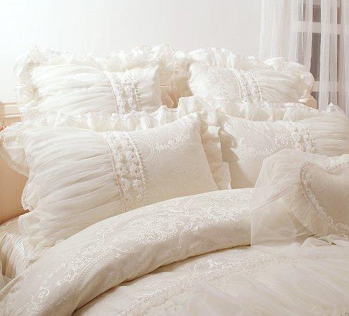 FADFAY Home Textile,Beautiful Milk White Ruffle Bedding Set,Korean Bedding Sets,Girls Lace Ruffled Bedding Set,9Pcs,Queen