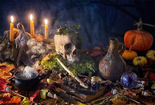 LFEEY 9x6ft Creep Halloween Skull Backdrop Scary Horror Scene Pumpkins Lighting Candles Black Magic Book Ancient Bottle in Forest Fallen Leaves Background for Photography Photo Studio (Black Forest Cake Video)