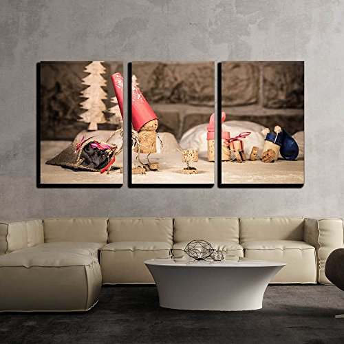 wall26 - 3 Piece Canvas Wall Art - Concept Santa Claus with Presents of Wine Cork Figures - Modern Home Decor Stretched and Framed Ready to Hang - 16