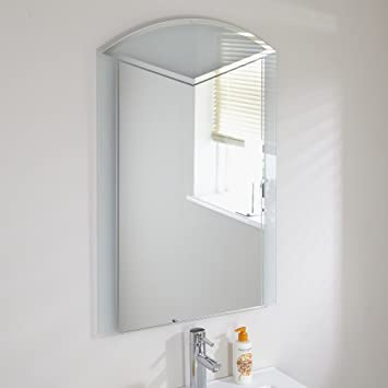 Art Deco Style Rectangular Bathroom Mirror With Stylish Curved Top Glass 600 X 900mm