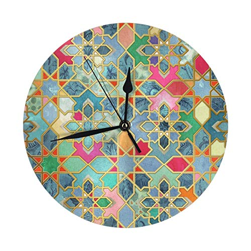LALACO-Design Gilt & Glory Colorful Moroccan Mosaic Round Wall Clock for Home,Office,School Decorative 9.8 Inch Battery Operated (Wall Colorful Clocks Unique)