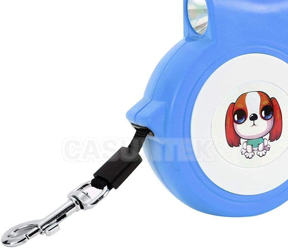 Blue Dog//cat 4.5m DiscountSeller Automatic Retractable Extending Traction Pet Rope Walking With Led Light