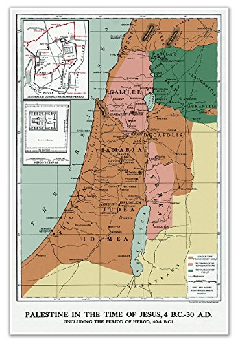 MAP of PALESTINE in the time of JESUS, 4 BC - 30 AD circa 1912 - measures 24