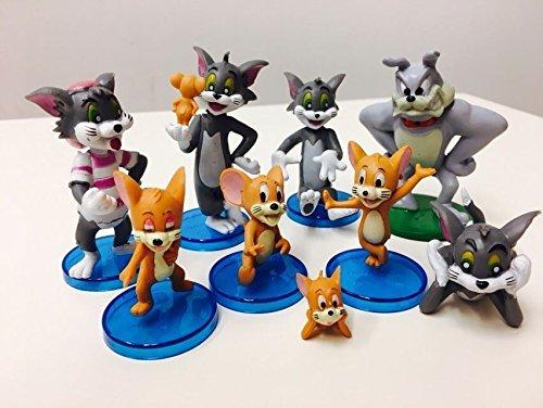 - 9PCS Set Tom and Jerry Mini Figures Cartoon Kids Xmas Gift Car PVC Doll