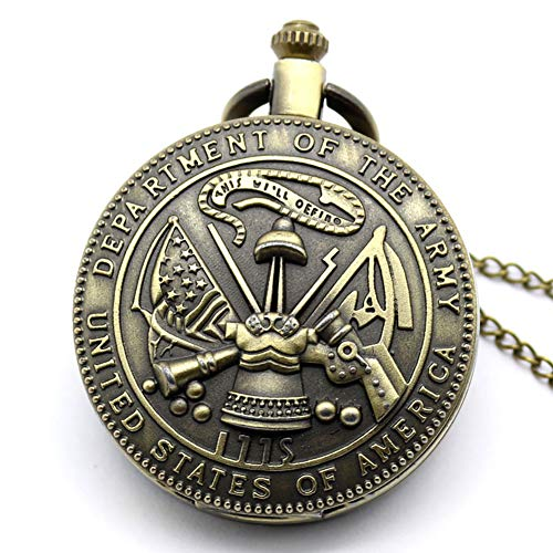 Pocket Watch, Antique Department of Army United State Quartz Pocket Watch, Gifts for Men - Ahmedy Pocket Watch (Usa Army Watch)
