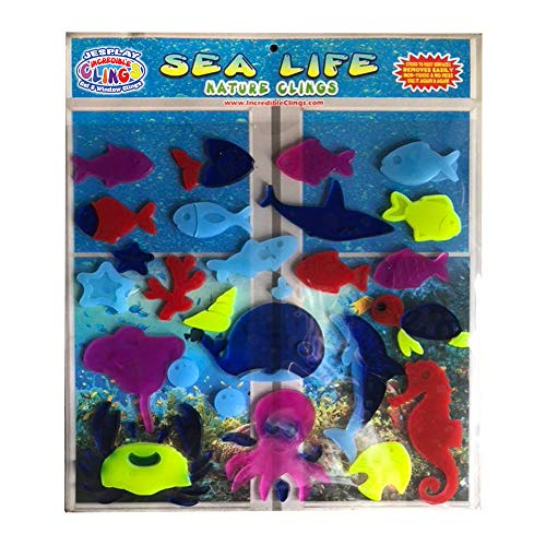Sea and Ocean Life Thick Glass Window Jelly Gel Clings - Reusable and Removable Ocean Fish and Marine Life Clings for Kids and Adults Stingray, Starfish, Sea Horse Home, Airplane, Classroom, Nursery]()