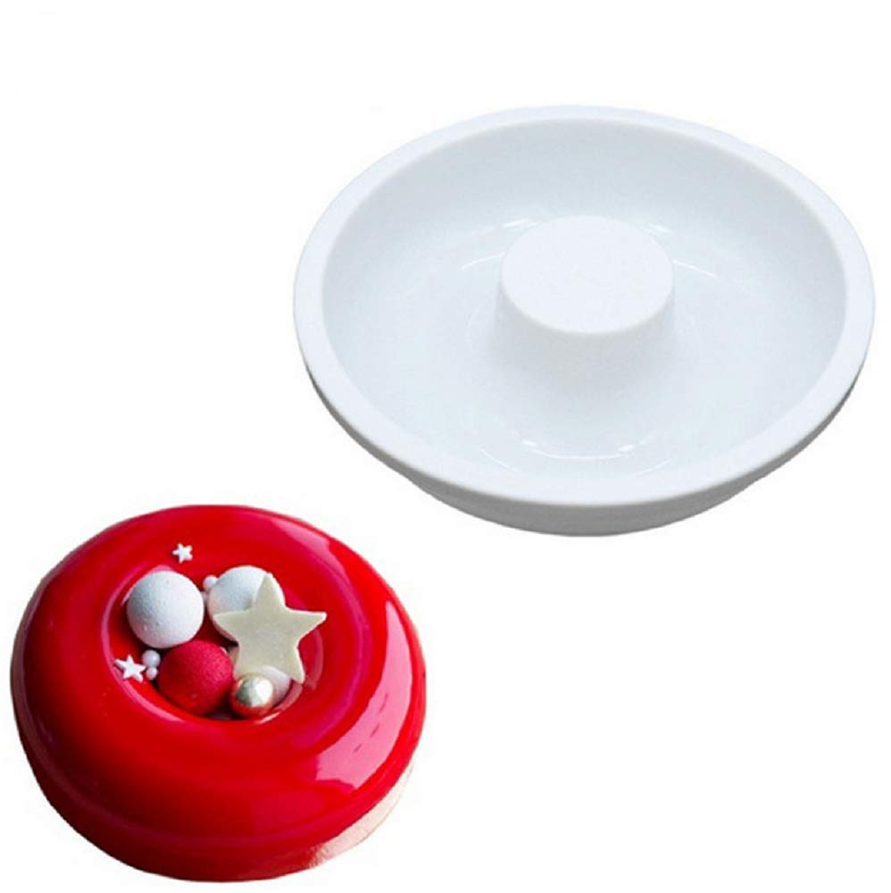 Hewnda 1-Pack Round Silicone Donut Mould - Chocolate Mousse Mould - DIY Decorative Baking Tray - Baking Tools Cake Decorating Plate(White)