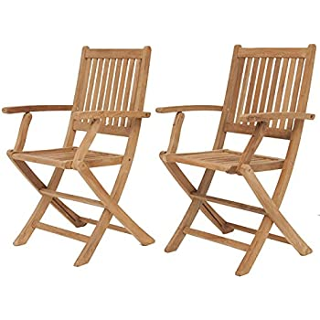 Amazonia Teak London 2 Piece Teak Folding Armchair