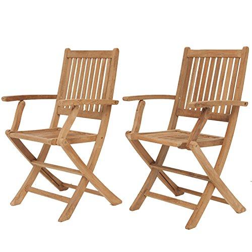 Amazonia Teak London 2-Piece Teak Folding Armchair (Folding Chair Teak)