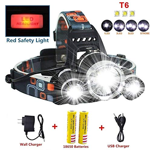 Headlamp,Brightest 12000 Lumen CREE LED Work Headlight,18650 USB Rechargeable Waterproof Flashlight with Zoomable Work Light,Head Lights for Camping,Running,Hiking,Best Christmas Gifts by Head Lamp (Image #7)