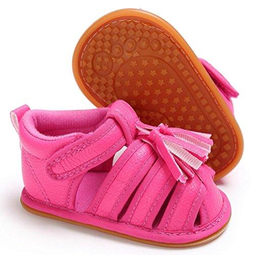 zapatos bebe niña verano Switchali Recién nacido nina primeros pasos zapatos bebe con suela borla princesa Zapatos moda Al aire libre sandalias de niña fiesta baratos Rosa Fuerte