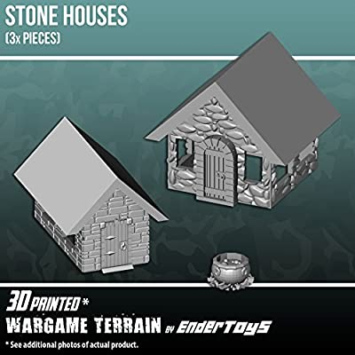 Stone Houses, Terrain Scenery for Tabletop 28mm Miniatures Wargame, 3D Printed and Paintable, EnderToys from Seus Corp Ltd